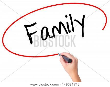 Women Hand Writing Family With Black Marker On Visual Screen