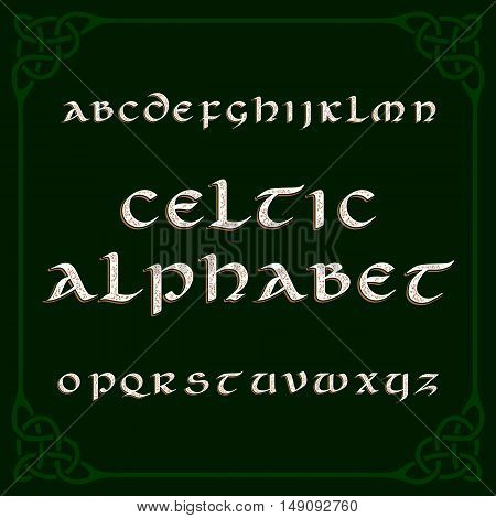 Celtic alphabet font. Distressed letters and knot frame. Vector typography for your design.
