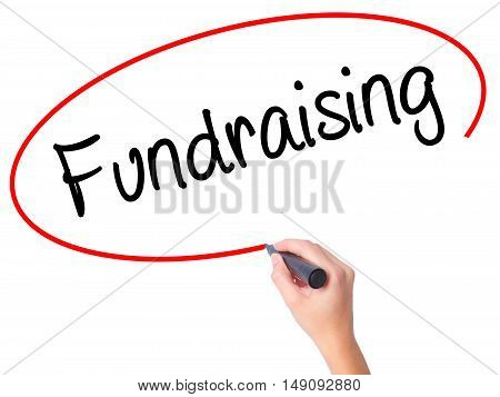Women Hand Writing Fundraising With Black Marker On Visual Screen