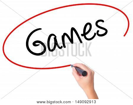 Women Hand Writing Games With Black Marker On Visual Screen