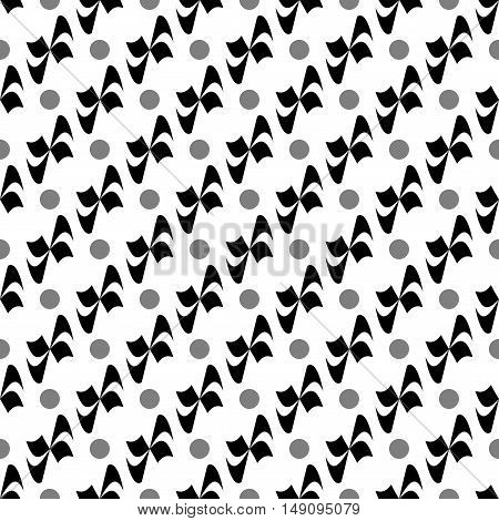 Flower polka dot geometric seamless pattern. Fashion graphic background design. Modern stylish abstract monochrome texture. Template for prints textiles wrapping wallpaper website. Stock VECTOR