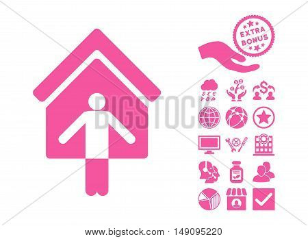 House Owner Wellcome pictograph with bonus symbols. Vector illustration style is flat iconic symbols pink color white background.