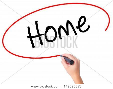 Women Hand Writing Home With Black Marker On Visual Screen