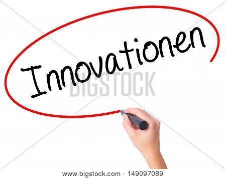 Women Hand Writing Innovationen  (innovationin German)t With Black Marker On Visual Screen