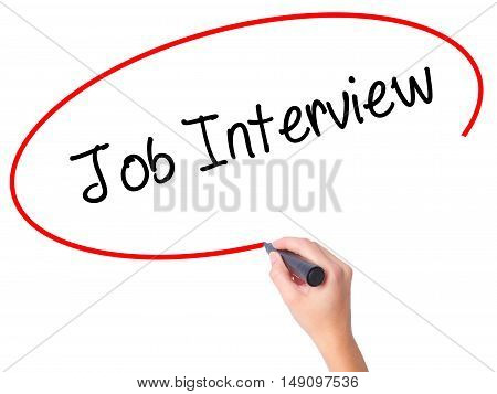 Women Hand Writing  Job Interview With Black Marker On Visual Screen
