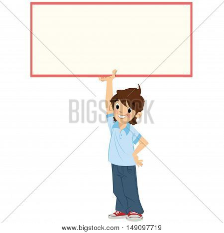 Cartoon boy pupil is holding high and above his head an empty board in order to leave white space so you could add your text