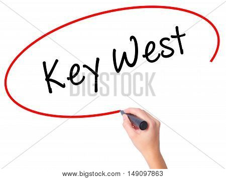 Women Hand Writing Key West With Black Marker On Visual Screen