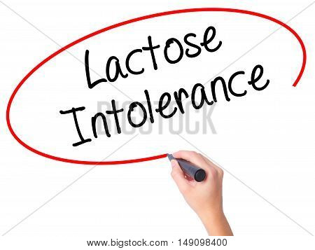 Women Hand Writing Lactose Intolerance With Black Marker On Visual Screen