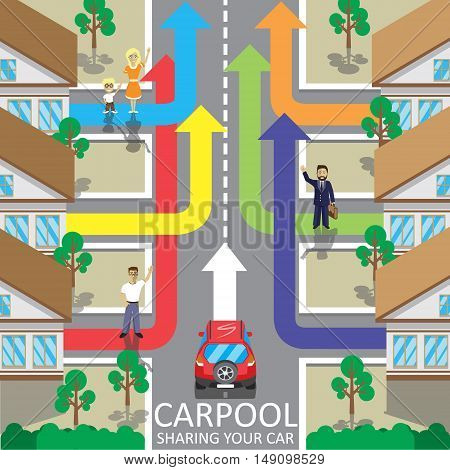 Carpool service vector illustration. Car sharing. Fellow traveler. Companions
