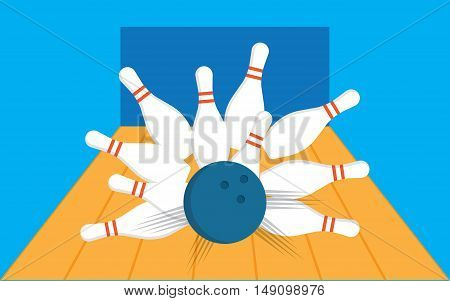 illustration of a bowling ball getting a strike with bowling pins sent flying
