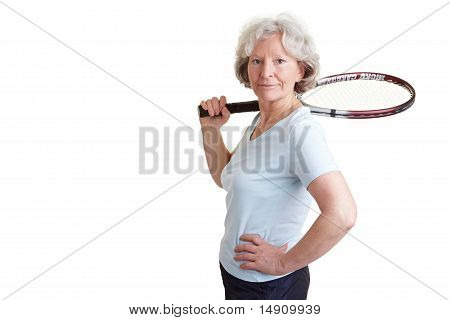 Old Woman Carrying Tennis Racket