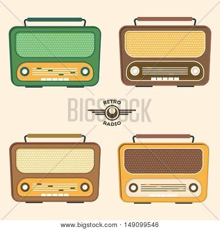 Colorful Retro Radio Set. Flat Design. Vector illustration
