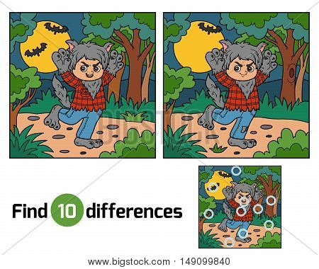 Find differences, education game for children, Werewolf