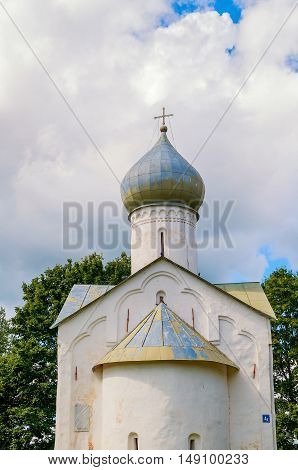 Closeup view of dome of Twelve Apostles on the Abyss church in Veliky Novgorod Russia. Architecture landmark of Veliky Novgorod in summer cloudy day