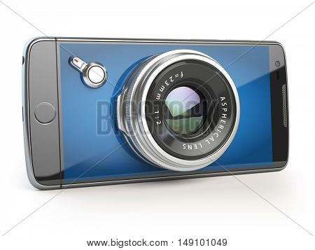 Smartphone digital camera concept. Mobile phone with camera lens isolated on white. 3d illustration