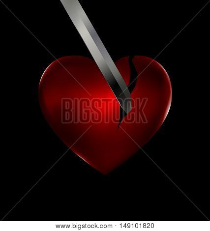 dark background and the red hurt heart with blade of sword inside
