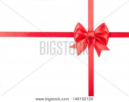 red ribbon with bow for packaging isolated on white.