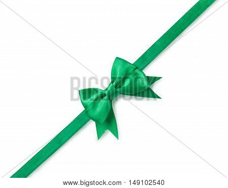 green ribbon with bow for packaging isolated on white.