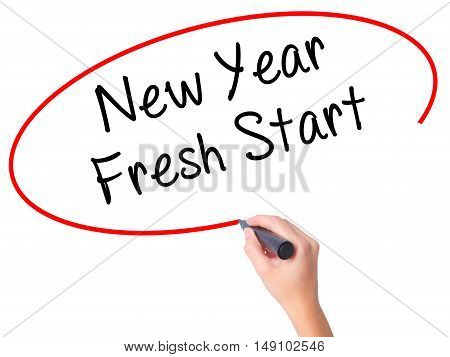 Women Hand Writing New Year Fresh Start With Black Marker On Visual Screen