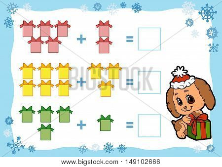 Counting Game For Children. Addition Worksheets. Christmas Gifts.