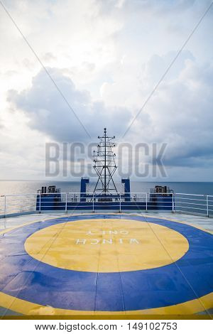 Color image of the landing place for helicopters on a passenger ship.