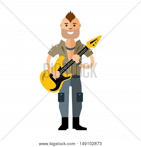Musician punk with guitar. Isolated on a White Background