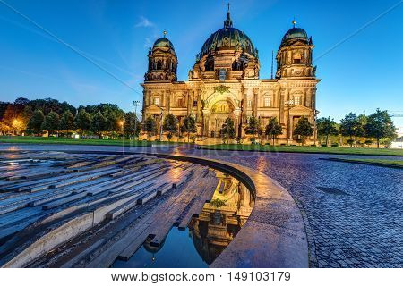 The illuminated Dom in Berlin, Germany, just before sunrise