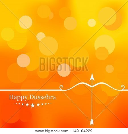 White text calligraphy inscription Happy Dussehra festival Indian with bow and colorful balls on orange background. Vector illustration EPS 10