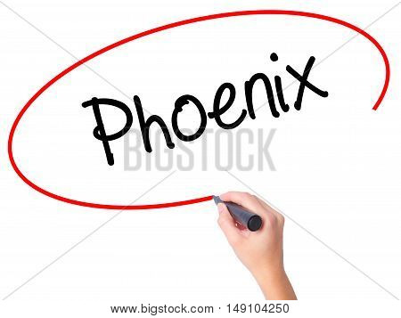 Women Hand Writing Phoenix  With Black Marker On Visual Screen
