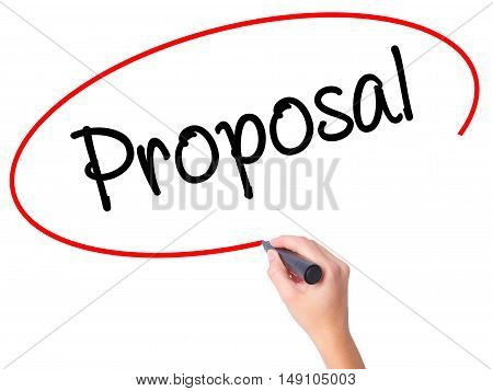 Women Hand Writing  Proposal With Black Marker On Visual Screen