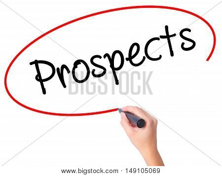 Women Hand Writing Prospects With Black Marker On Visual Screen