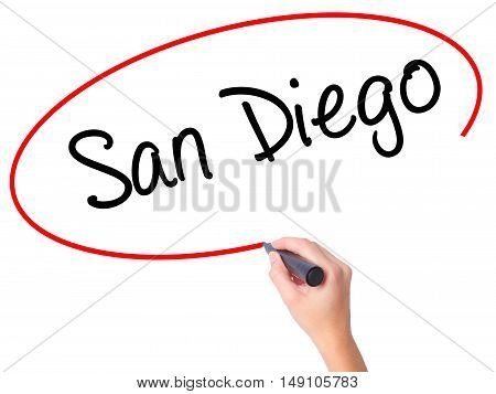 Women Hand Writing San Diego With Black Marker On Visual Screen
