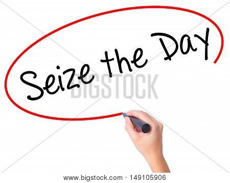 Women Hand Writing Seize The Day With Black Marker On Visual Screen.