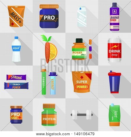 Set of bodybuilding sport food. Sports and fitness nutrition: proteine power drink, whey, gainer. Jars and bottles with supplements for muscle growth. Icons in flat style. Vector isolated illustration