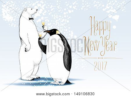 Happy New Year 2017 vector seasonal greeting card. Penguin polar bear cute characters drinking glass of wine funny illustration. Design element with Happy New Year hand drawn tex