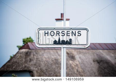 Horsens city sign in Jylland in Denmark