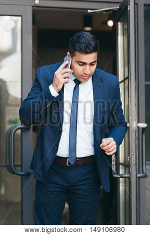 Busy stock market trader in a hurry. Exchange and trading concept.