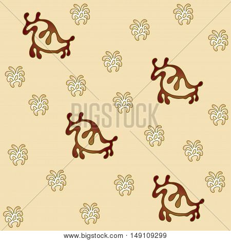 Buffalo and plant seamless vector pattern cream field and brown bison.