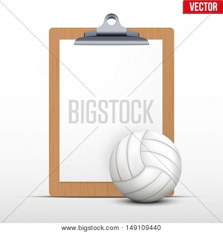 Coaching blank clipboard and volleyball ball. Editable Vector illustration Isolated on white background.