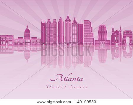 Atlanta skyline in purple radiant orchid in editable vector file