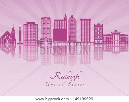 Raleigh skyline in purple radiant orchid in editable vector file