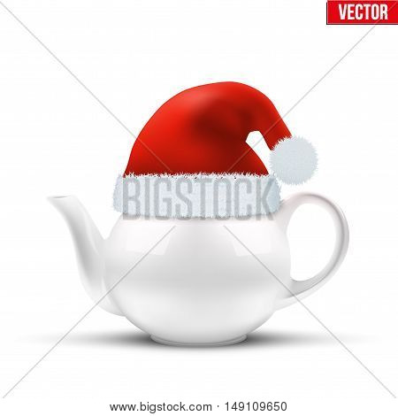 Ceramic teapot with Christmas hat of Santa Claus. Vector illustration Isolated on white background.