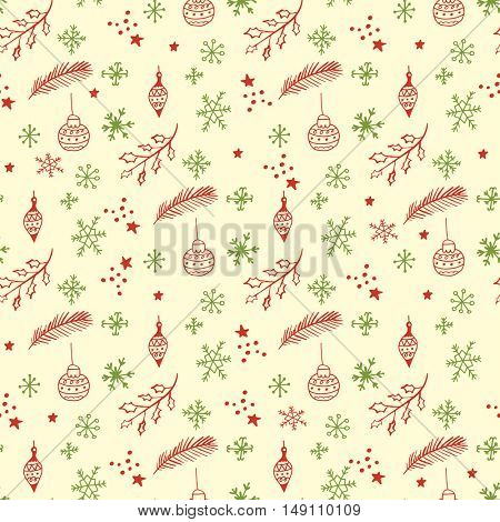 Christmas seamless pattern. Cute doodle elements snowflakes, ball, fir tree branches, holly berry and snowballs. can be used for wrapping paper, scrapbooking, print abd web design