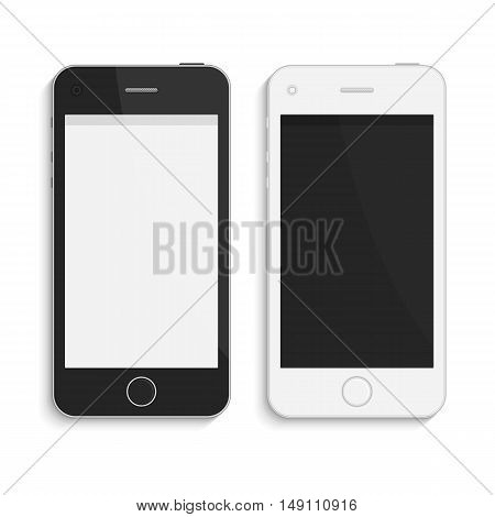 Realistic vector smart phones. Modern phone, mock up, isolated on white background. Black and white version. Mobile phone with a blank screen.