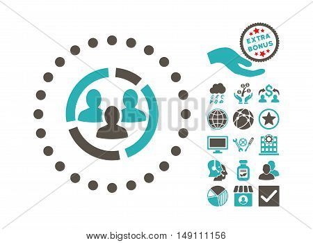 Demography Diagram pictograph with bonus pictograph collection. Vector illustration style is flat iconic bicolor symbols grey and cyan colors white background.