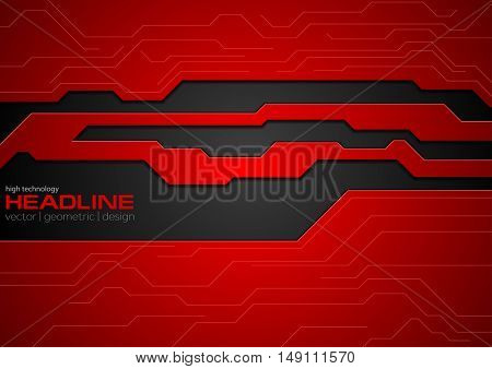 Red and black contrast tech corporate background. Vector corporate illustration with tech circuit board lines elements