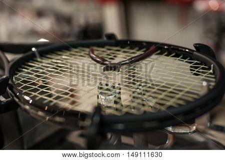 Detail Of Tennis Racket In The Stringing Machine