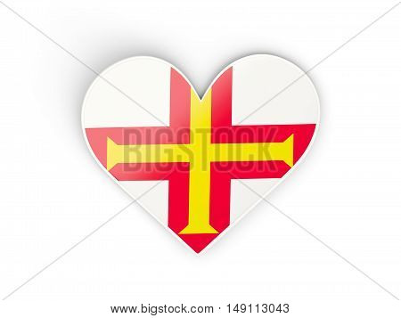 Flag Of Guernsey, Heart Shaped Sticker