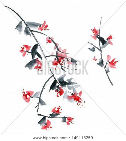Blossom tree branch with red flowers and grey leaves. Watercolor and ink painting in style sumi-e u-sin. Seamless pattern.