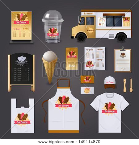 Ice cream selling realistic design set with apron and street food cart design isolated vector illustration